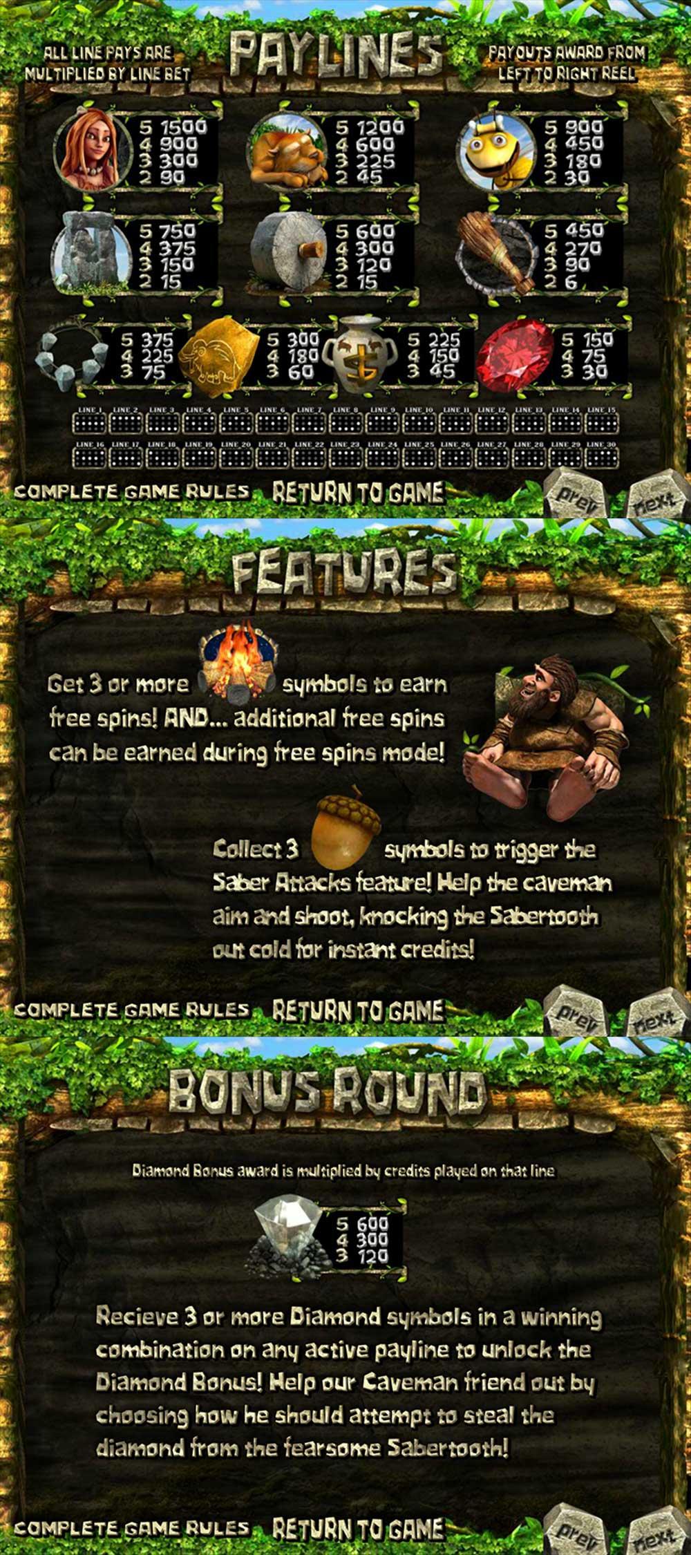 2 Million B.C. Pay Table Screenshot, Big Dollar Casino
