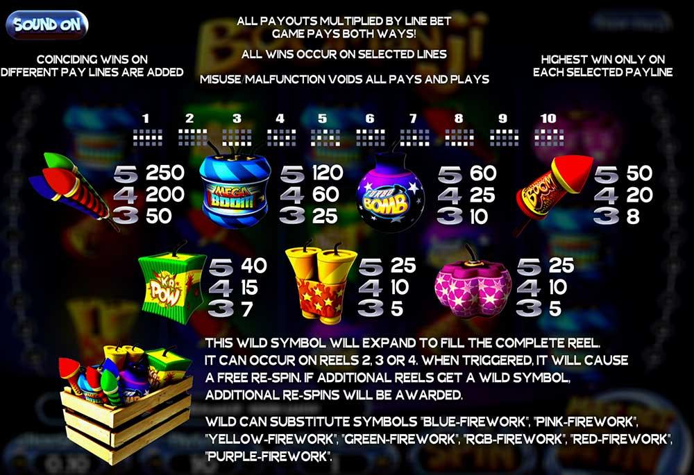 Boomanji Pay Table Screenshot, Big Dollar Casino