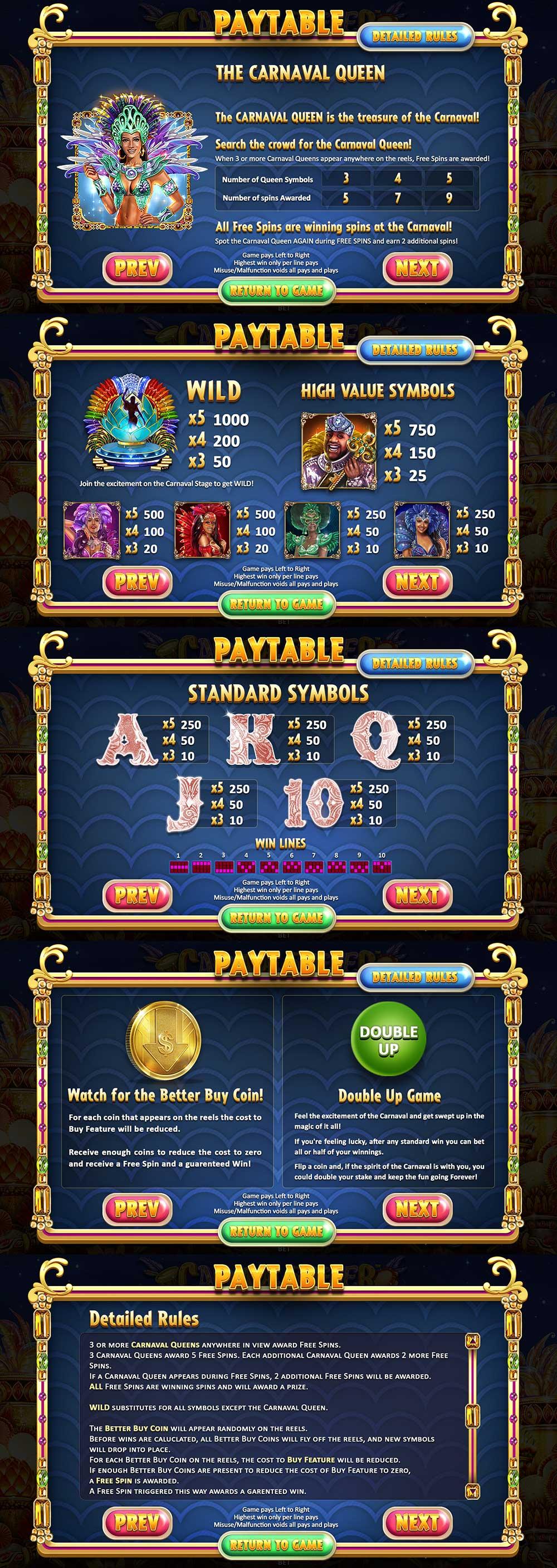 Carnaval Forever Pay Table Screenshot, Big Dollar Casino