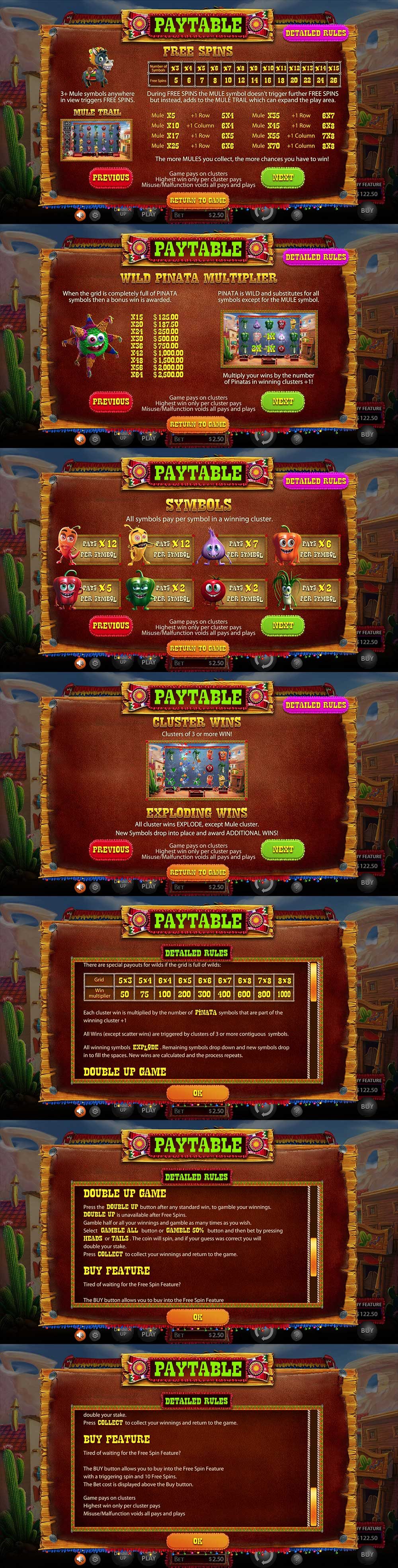 Chillipop Pay Table Screenshot, Big Dollar Casino
