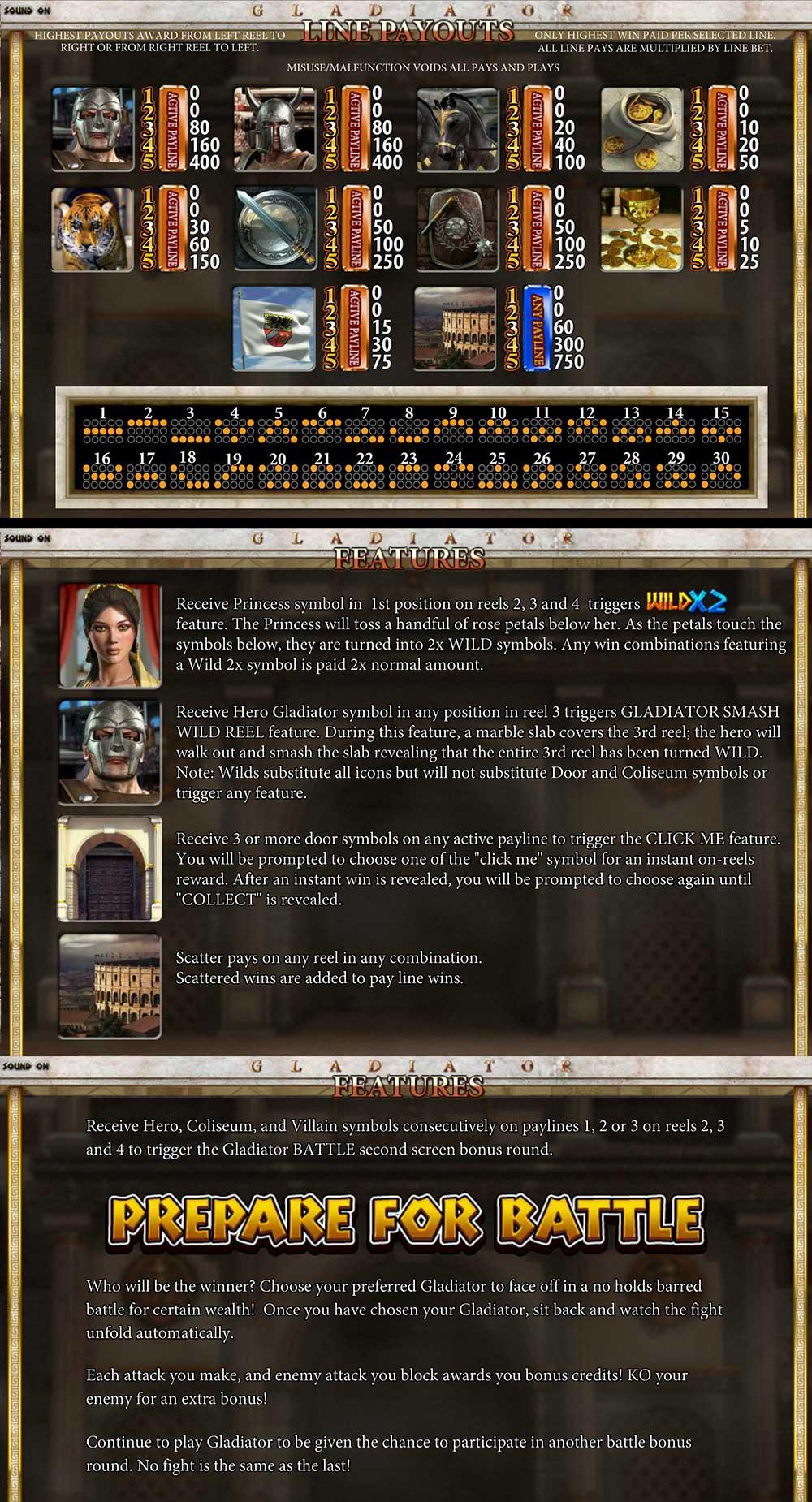 Gladiator Pay Table Screenshot, Big Dollar Casino