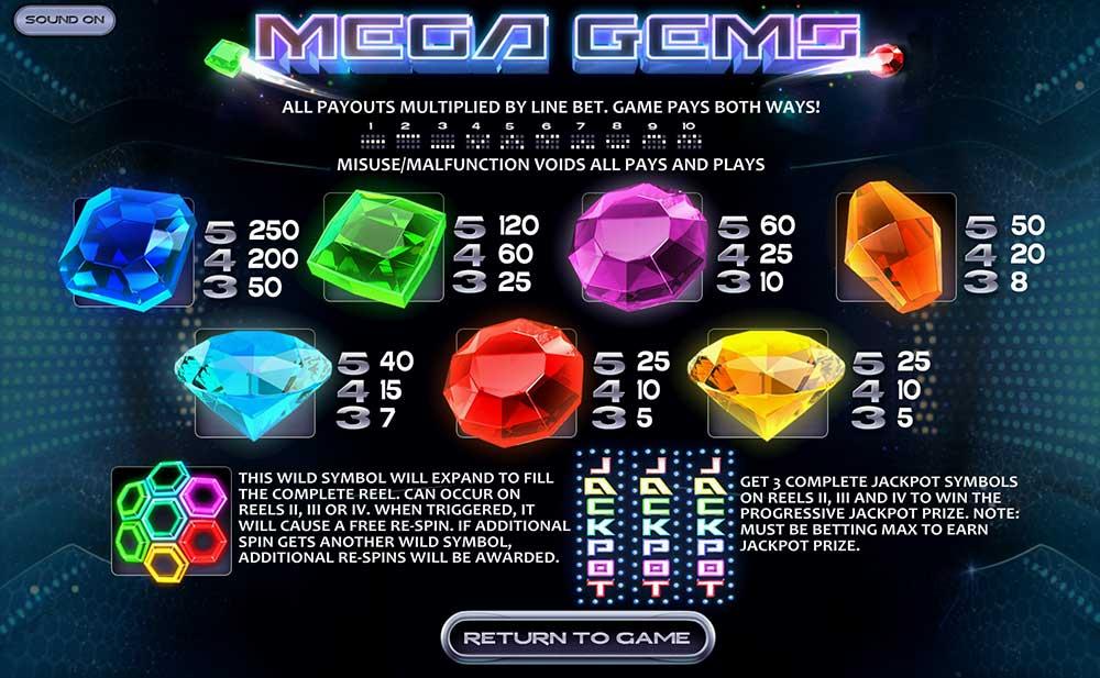 Mega Gems Pay Table Screenshot, Big Dollar Casino