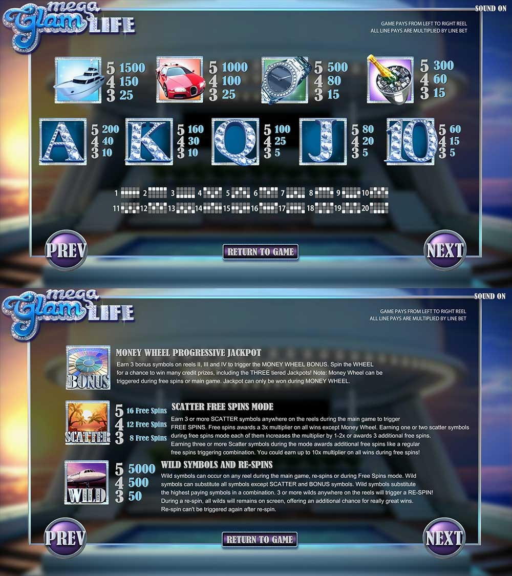 Mega Glam Life Pay Table Screenshot, Big Dollar Casino