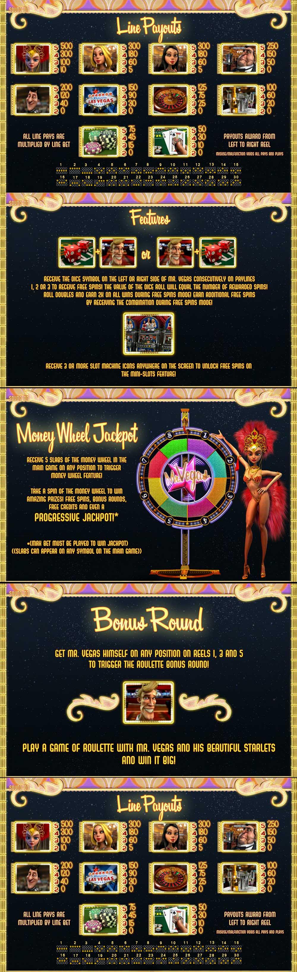 Mr. Vegas Pay Table Screenshot, Big Dollar Casino