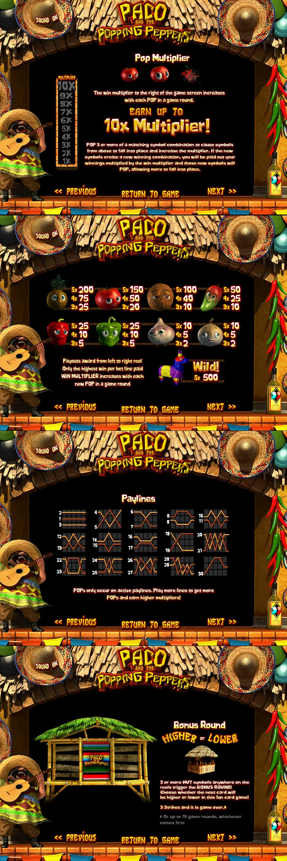 Paco and the Popping Peppers Pay Table Screenshot, Big Dollar Casino