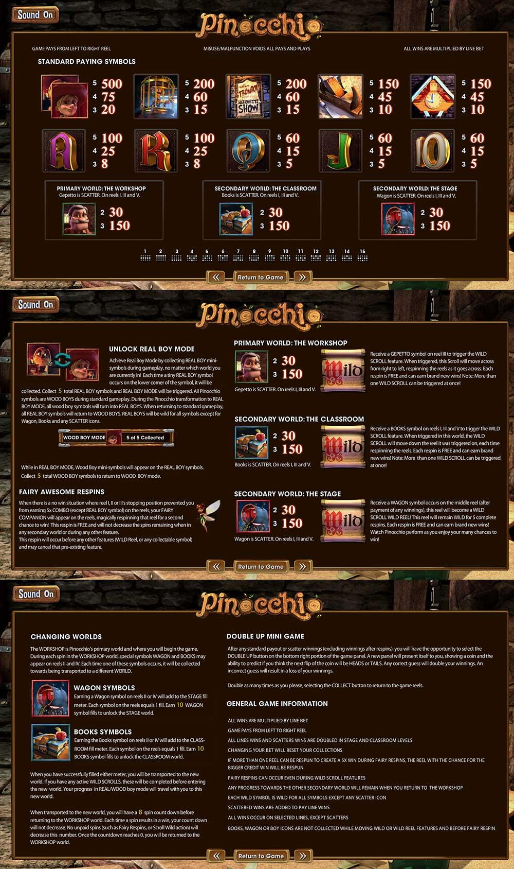 Pinocchio Pay Table Screenshot, Big Dollar Casino