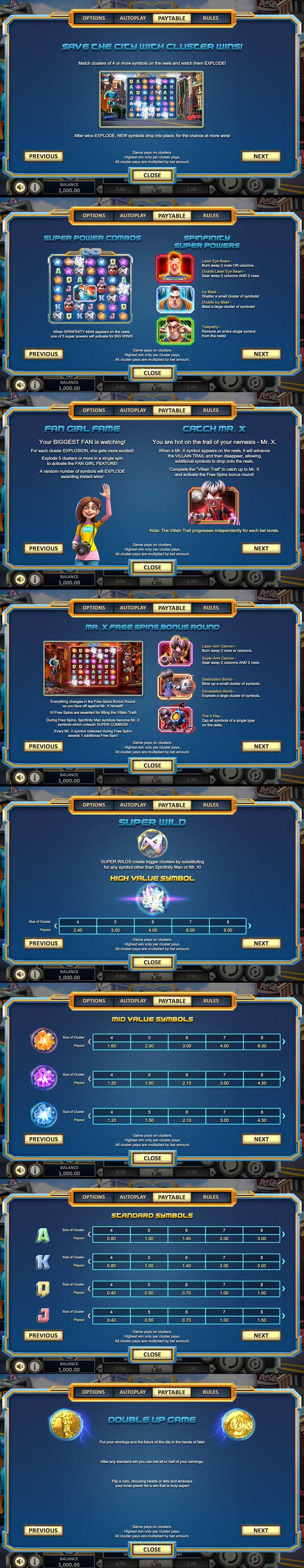 Spinfinity Man Pay Table Screenshot, Big Dollar Casino