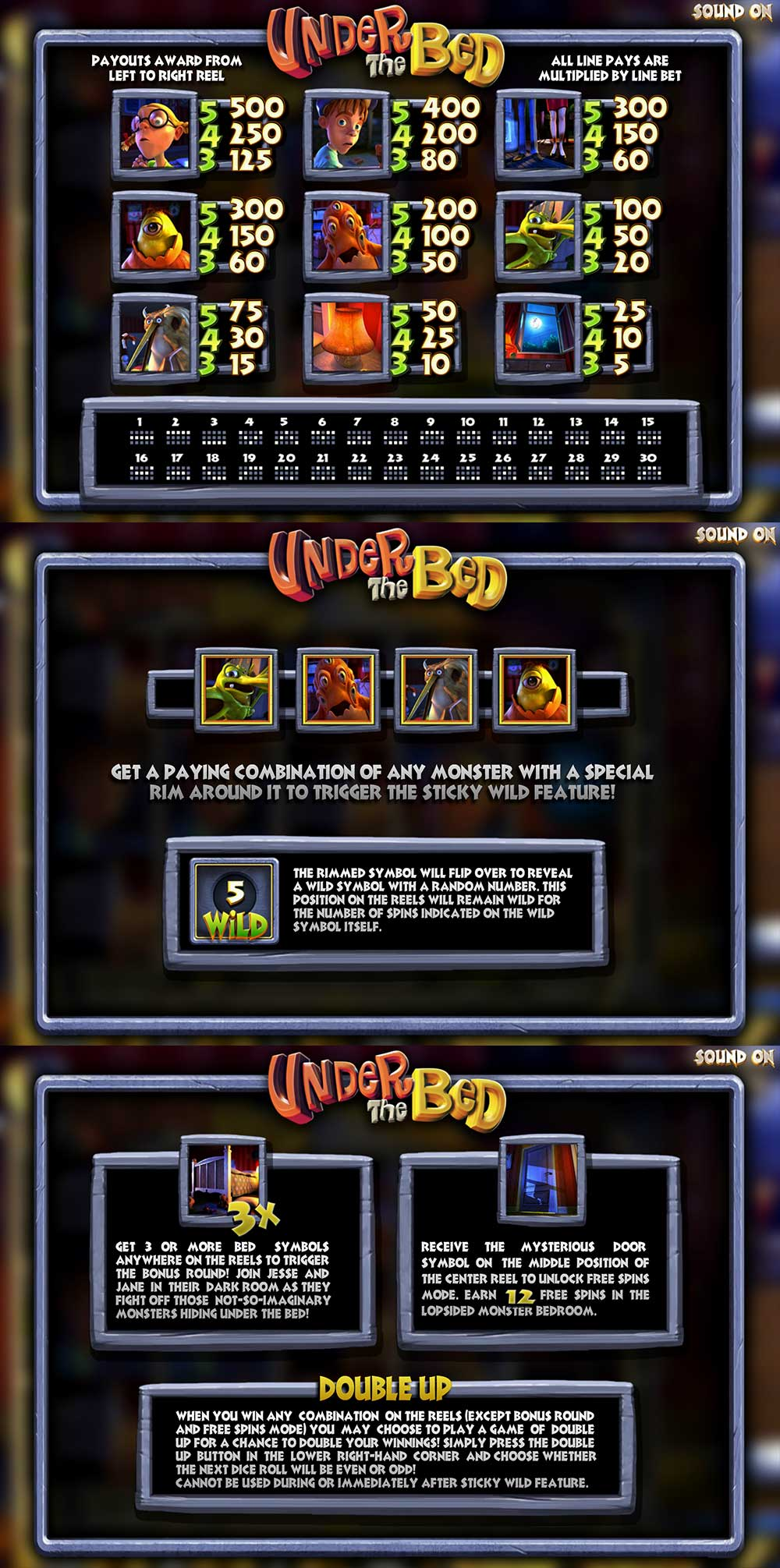 Under the Bed Pay Table Screenshot, Big Dollar Casino