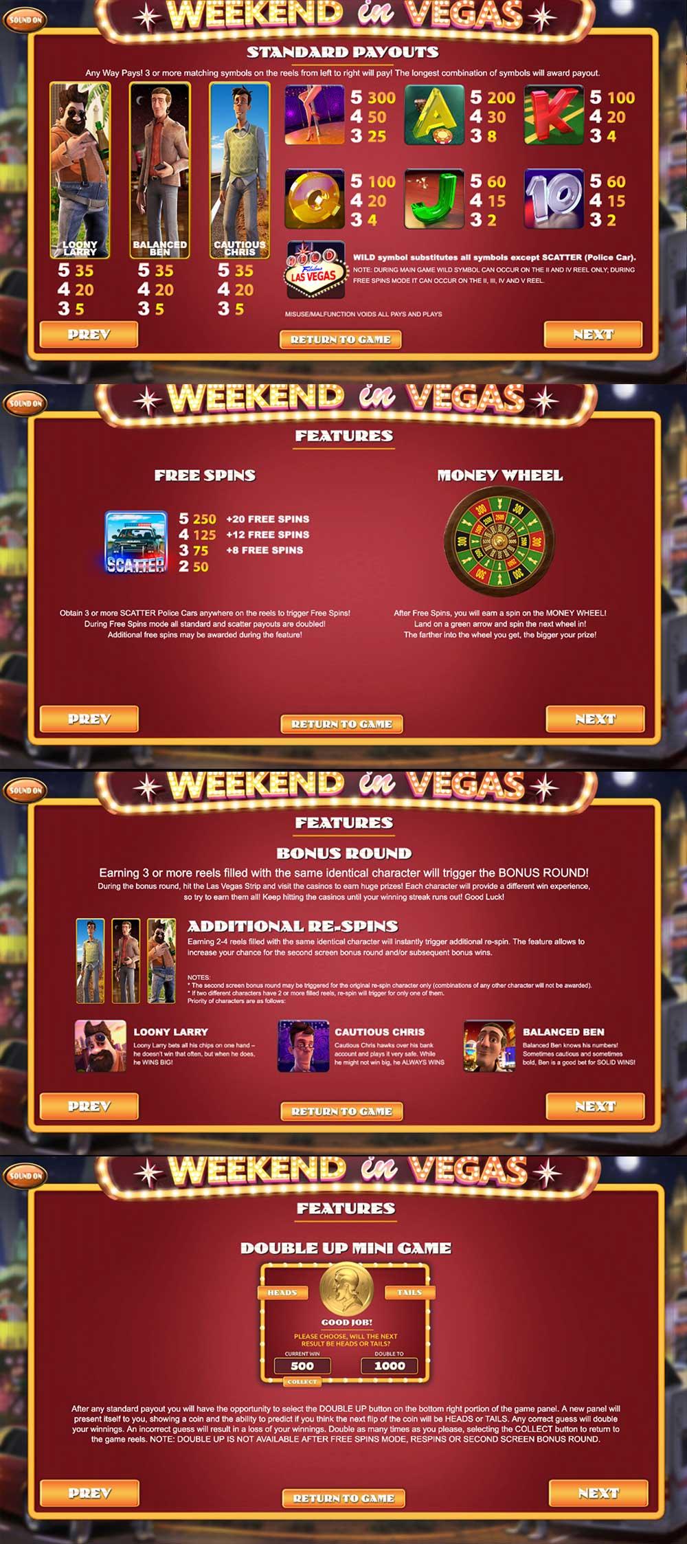 Weekend In Vegas Pay Table Screenshot, Big Dollar Casino