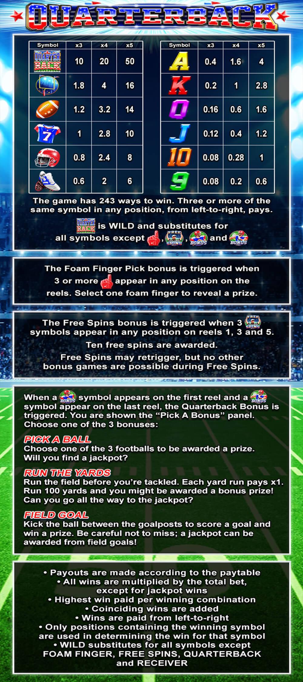 Quarterback Pay Table Screenshot, Big Dollar Casino