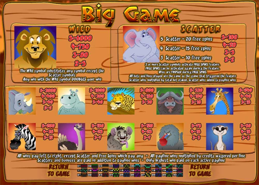 Big Game Pay Table Screenshot, Big Dollar Casino
