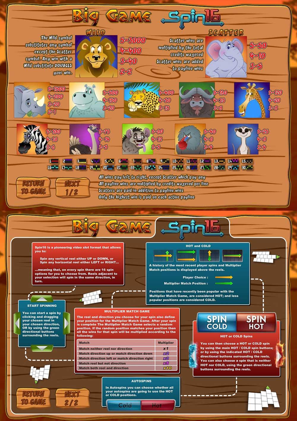 Big Game Spin16 Pay Table Screenshot, Big Dollar Casino
