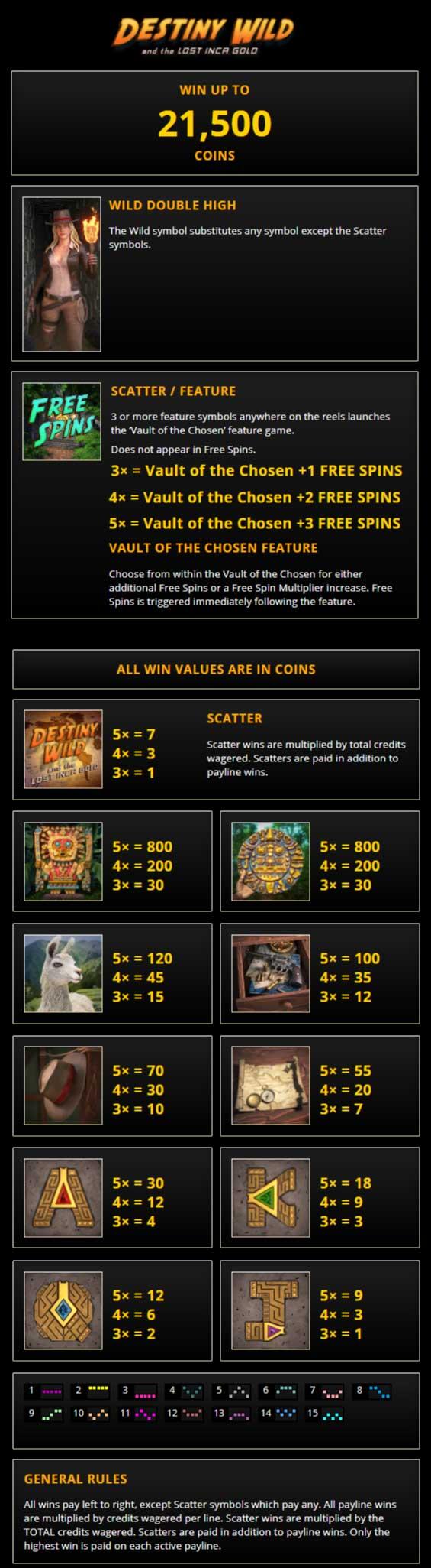Destiny Wild Pay Table Screenshot, Treasure Mile