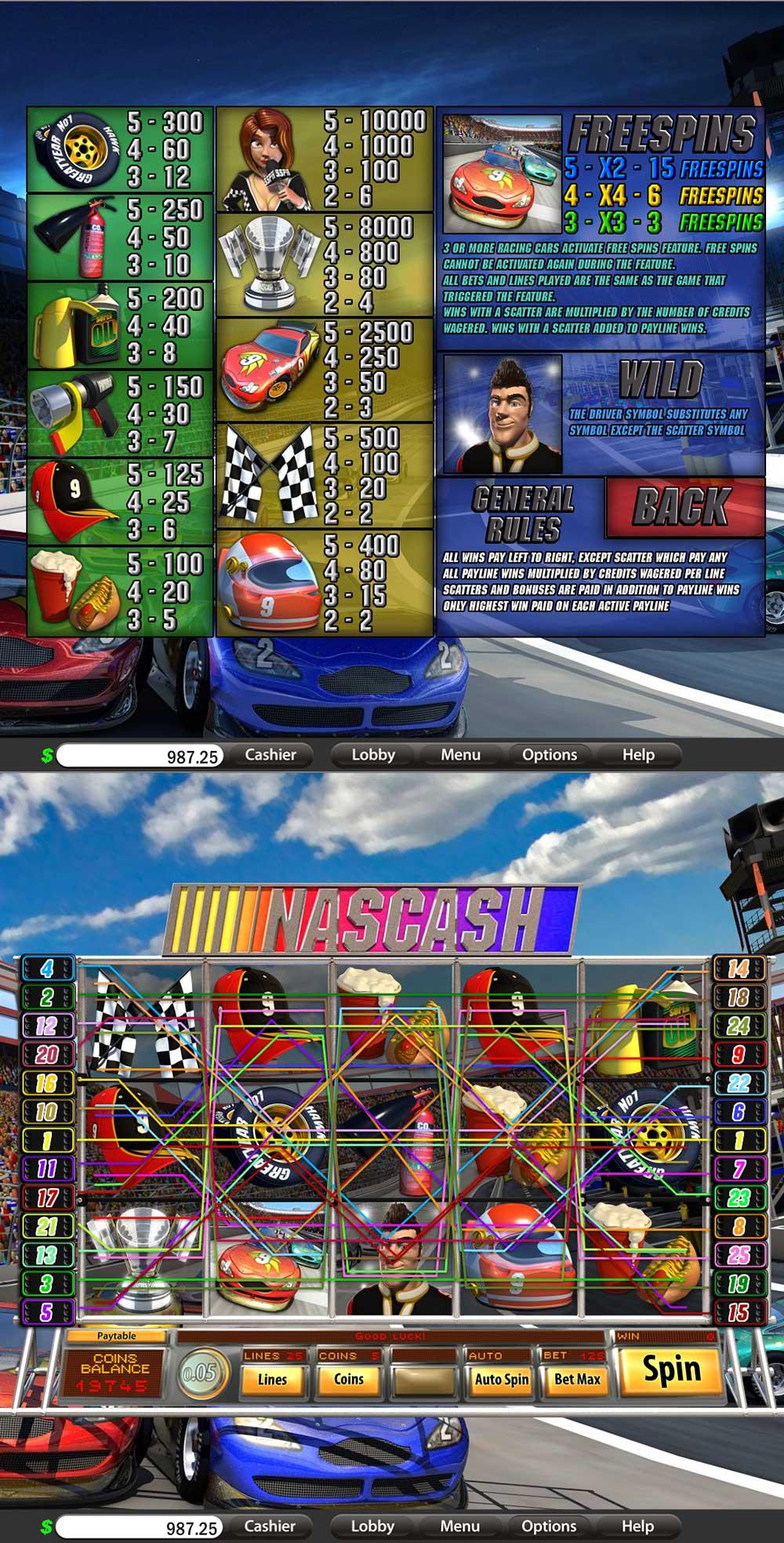 Nascash Pay Table Screenshot, Big Dollar Casino