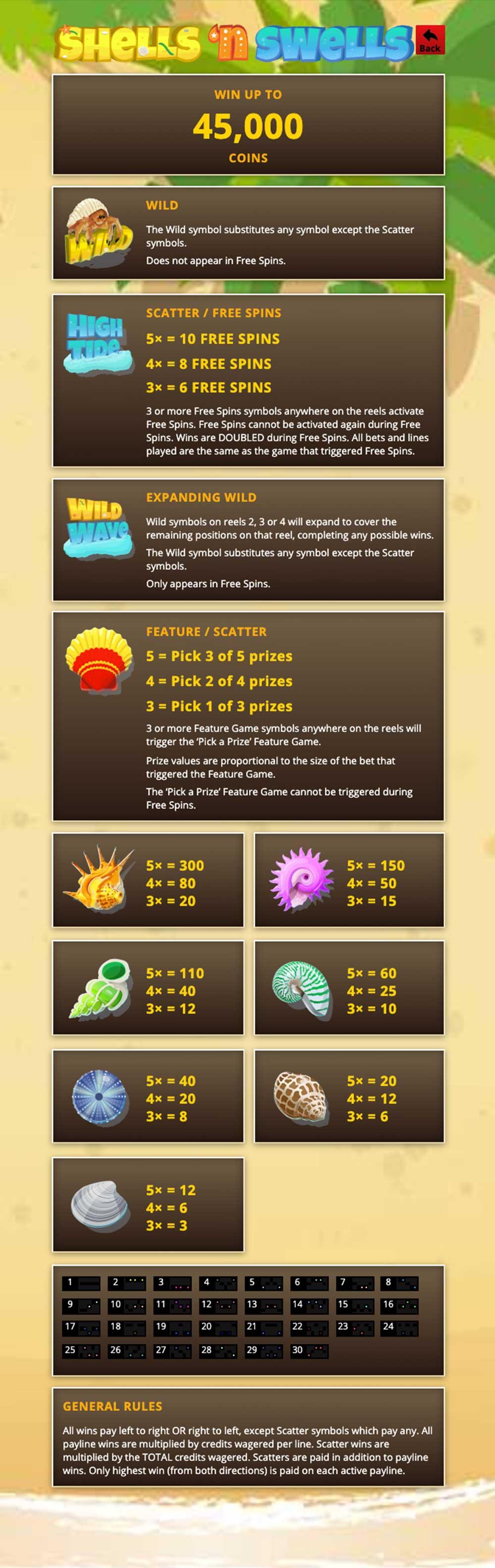 Shells 'n Swells Pay Table Screenshot, Big Dollar Casino