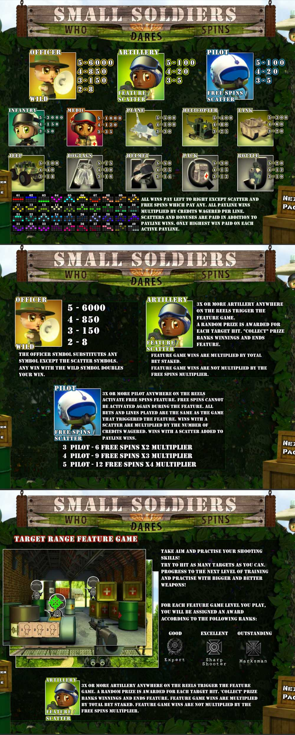 Small Soldiers Pay Table Screenshot, Big Dollar Casino